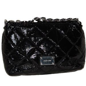 Michael Kors Black Patent Quilted Bag Clutch EUC